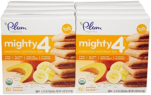 Plum Organics Tots Mighty 4 Bars-Pumpkin Banana-4.02 Ounces-8 Pack