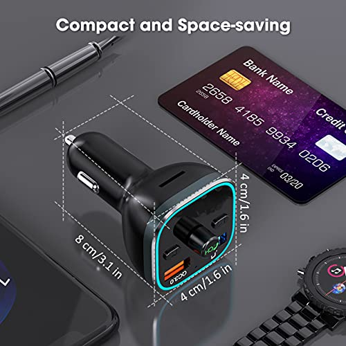 VT FM Transmitter for Car, Bluetooth 5.0 Car Radio Audio Adapter with QC3.0 Quick Charge & 6 RGB Colorful Light, MP3 Player Car Charger Support Hands-Free Calling, USB Drive, TF Card,Black