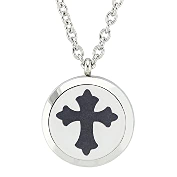 Amazon cross aromatherapy essential oil diffuser necklace cross aromatherapy essential oil diffuser necklace 316l stainless steel fragrance locket pendant perfume jewelry aloadofball Gallery