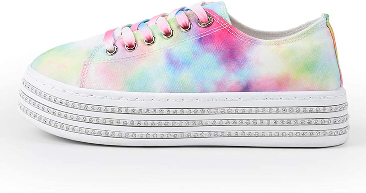 Europe Women Lace Up Sneakers Canvas High Top  Rainbow Colors Flat Shoes