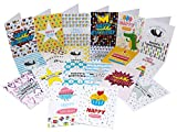 20 Kids Birthday Cards | Multipack for Children | Girls & Boys Cute Box Set Bundle | by VonClass