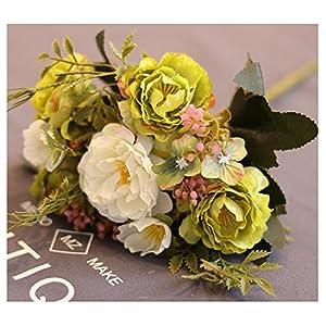 LuckySHD 5 Pcs Artificial Peony Bouquet Fake Silk Flowers Arrangements 35