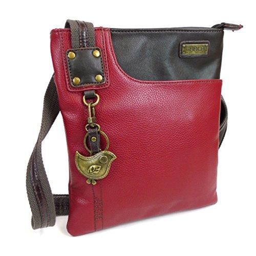 New Chala Crossbody SWING Bag Vegan Leather (Cat, Turtle, Owl, Dragonfly) Group (Burgundy- Bird)
