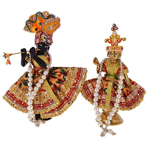 RAJKRUTI BRASS RADHA KRISHNA IDOL / STATUE / MURTI WITH UNIQUE DRESS / POSHAK WITH ASSORTED - Dress Idol