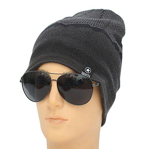 Ukallaite Our Fashion Century - Gorro de Punto elástico para Hombre, Forro Polar, cálido, Color Negro, Gris gris
