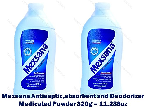 2 Mexsana Antiseptic,absorbent and Deodorizer Medicated Powder 320g = 11.288oz