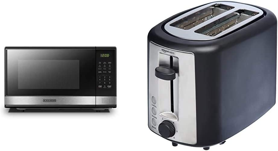 BLACK+DECKER Microwave Oven with Turntable Push-Button Door,Child Safety Lock,1000W,1.1cu.ft,Stainless Steel, 1.1 Cu.Ft & AmazonBasics 2 Slice, Extra-Wide Slot Toaster with 6 Shade Settings, Black