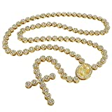 Niv's Bling - 14K Gold Plated Iced Out Rosary Necklace – Hip Hop Flower Chain, 30 inches