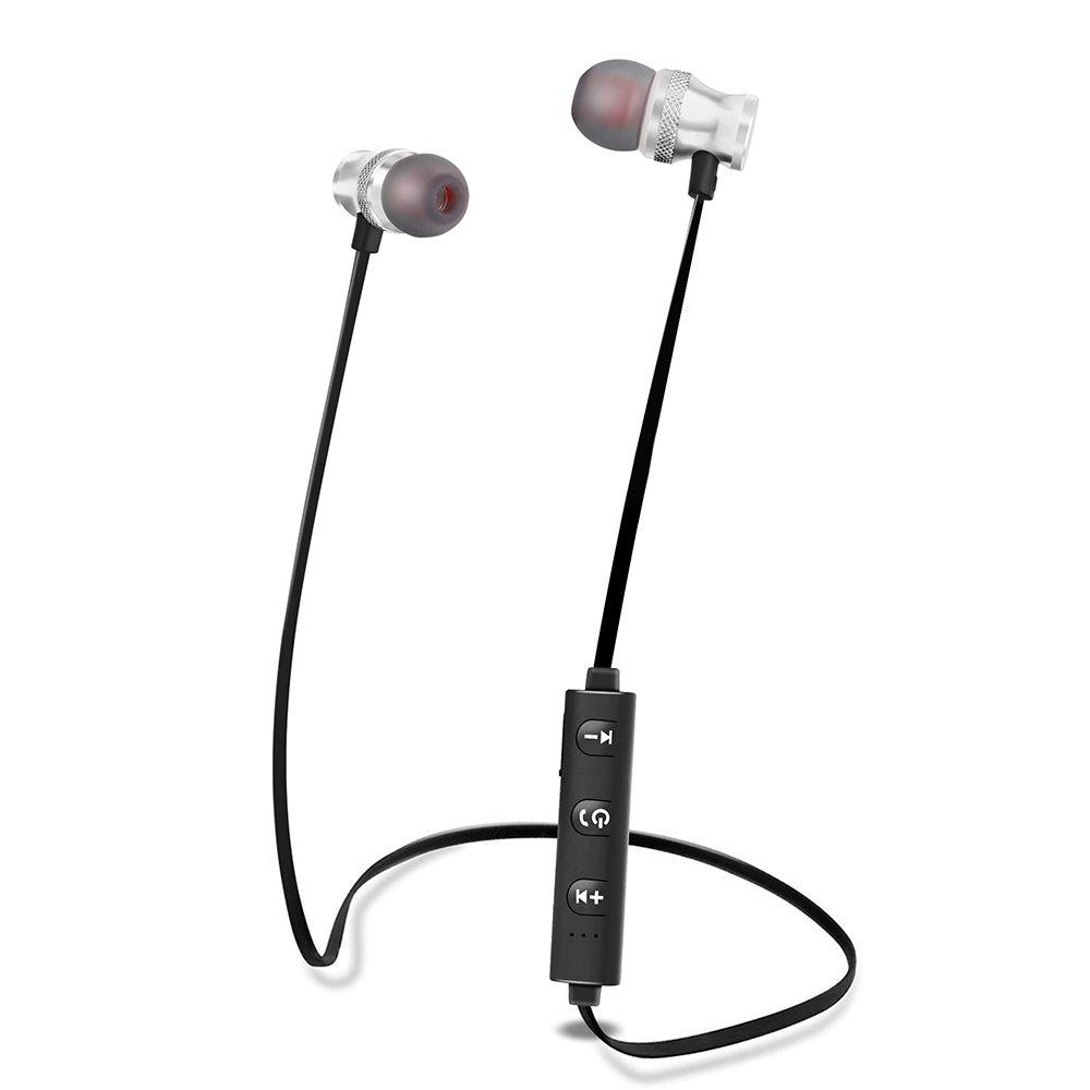 Bluetoothイヤホンappswer r-s01ワイヤレスイヤホン耳のスポーツヘッドフォンイヤホンスポーツ用の磁気ヘッドセットマイク付き, シルバー B07B3PMZQR  シルバー