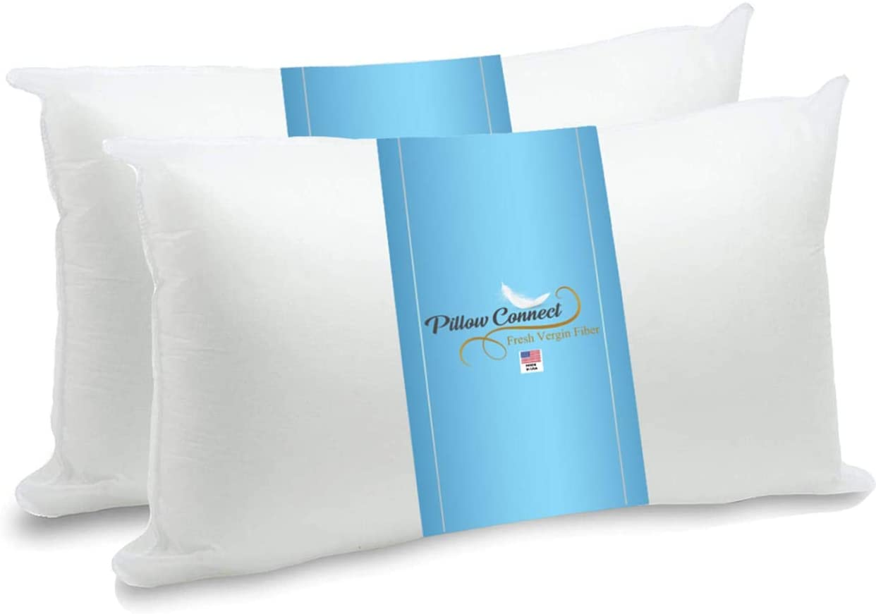Queen Size 20in x30in Pillow connect Pillows for Sleeping Pack of 2 Hotel Quality for Side Sleepers