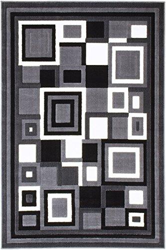 PR CONTEMPORARY MODERN GEOMETRIC SQUARES GREY, BLACK AND WHITE (4 Feet X 5 - Grey Pr Square