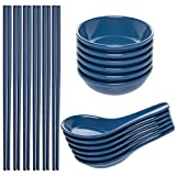 chinese rice bowls small - Zak! (24 Piece) Asian Reusable BPA-Free Plastic Utensils Set With Chopsticks, Soup Spoons For Wonton Pho & Ramen, & Small Bowl Dishes For Dipping Sauces Like Soy & Wasabi