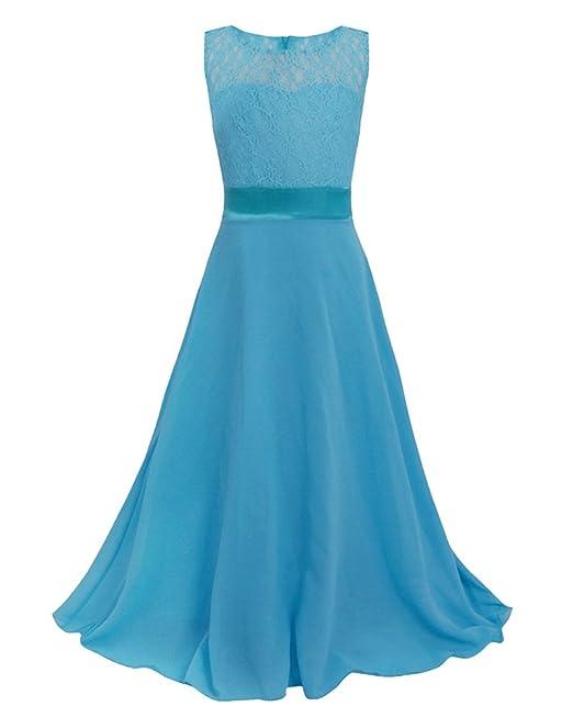 Niñas Vestido Largo De Ceremonia Boda Fiesta Princesa Vestidos De Encaje Agua Azul 110