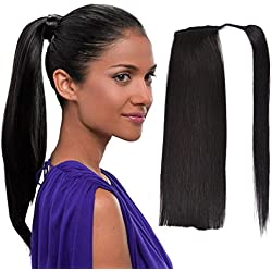 "22"" Human Hair Ponytail Wrap Around Clip in Ponytail Hair Extensions for Women Off Black(#1B) 100g/3.5oz"