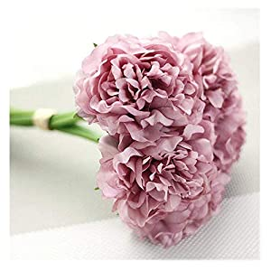 Jpettie Artificial Flowers 5 Heads Silk Peony Artificial Peony Bride Holding Flowers Wedding Bouquet for Wedding Living Room Home Hotel Party Christmas Decoration Holiday Gift, 10.2 Inches (Purple) 5
