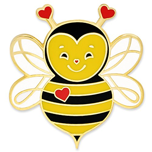 PinMart Cute Love Bee Valentine's Day Heart Enamel Lapel Pin