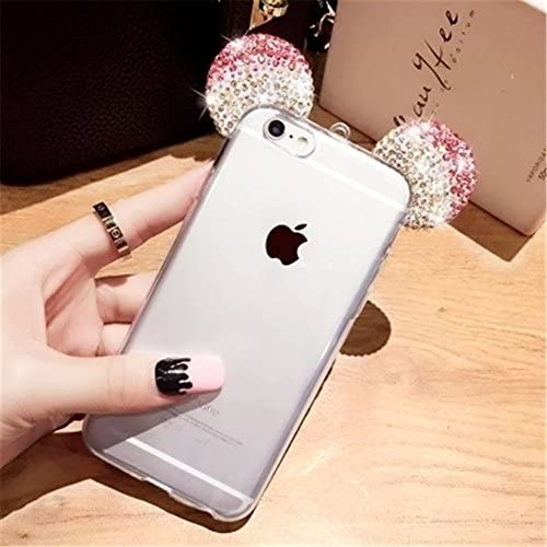 Soft TPU Case for Galaxy S7,3D Handmade Diamond Mouse Ears Handcraft With Heart Ring Metal Buckle Pendant Fur Sales