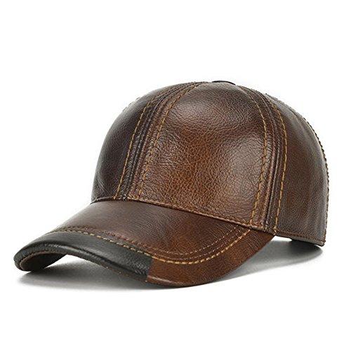 HSRT Mens Cowhide Leather Solid Adjustable Baseball Cap Casual Cosy Sunshade Sport Cap - Shades Australian