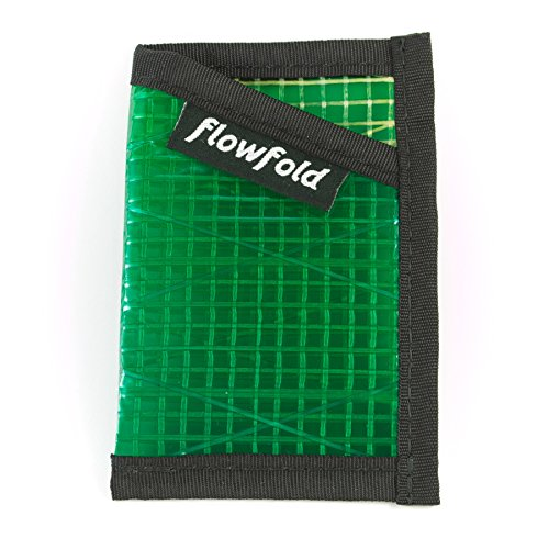 Flowfold Recycled Sailcloth Minimalist Slim Front Pocket Card Holder Wallet - Light Weight - Made in The USA - Green