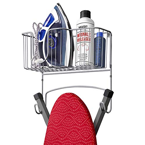 (Mueller Ironing Board Hanger Wall Mount with Large Storage Basket and Hooks. Organizer for Laundry Rooms, Heat - Resistant, Holds Iron, Ironing Board and Spray Bottles)