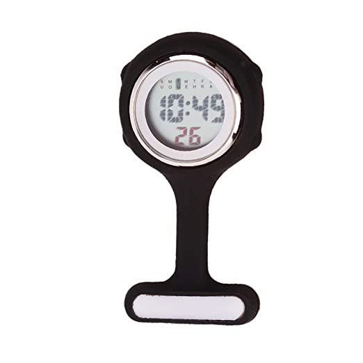 fresh66 Negro Multifunción Digital Silicona Hermana Reloj Enfermera Reloj Reloj de Bolsillo: Amazon.es: Relojes
