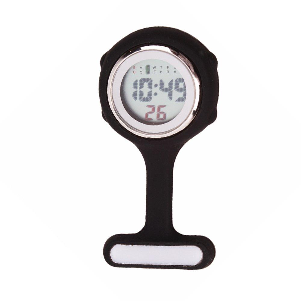 Multi-function Digital Silicone Nurse Doctor Gift Fob Pocket Watch (Black)