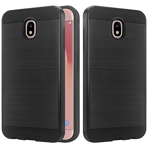 Texured Design - Galaxy J3 2018 (J337) Case, J3 Achieve, J3 Emerge 2018, J3 Express Prime 3, J3 Eclipse 2, J3 Prime 2 Case, Lacass Shockproof Brushed Metal Texured Design Slim Hybrid Case - Brushed Black