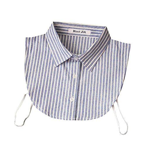 Shinywear Unisex Retro Striped Half Shirt False Collar Business Lapel Peaked Collar (Blue) (Blue Peter Halloween Decorations)
