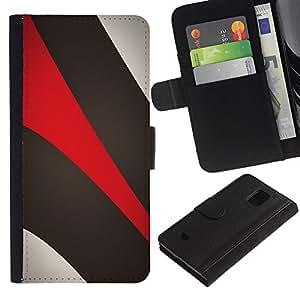 [Neutron-Star] Modelo colorido cuero de la carpeta del tirón del caso cubierta piel Holster Funda protecció Para Samsung Galaxy S5 Mini / Galaxy S5 Mini Duos / SM-G800 !!!NOT S5 REGULAR! [Khaki Beige Red]