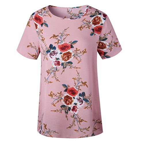 Blouse Chemisier Dames Retro Mode Crop Manche Courte Rose Sexy Casual Haut Elegant Tops Tunika Hemd T Vovotrade Ete Dcontracte Femmes shirt Tunique Impression Florale vYzUxz