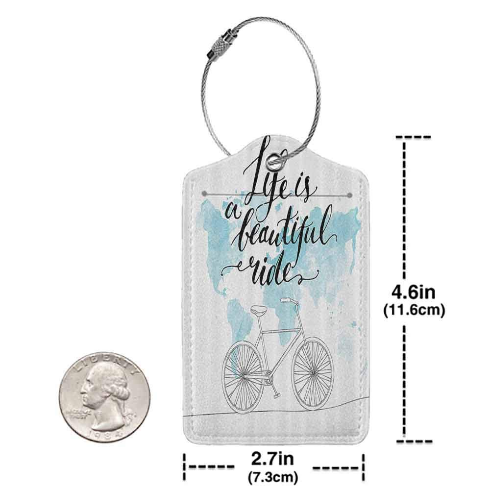 Waterproof luggage tag Bicycle Decor Collection Inspirational Cycling Picture with World Map Reflection Motivational Sports Illustration Soft to the touch Blue White W2.7 x L4.6