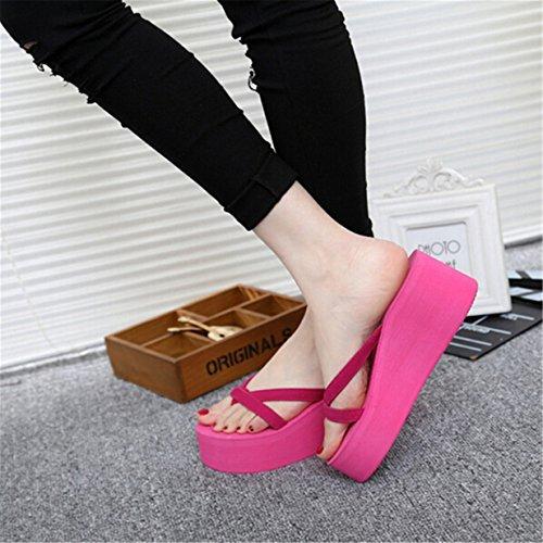 Lalang Damen Plattform Keilabsatz Zehenriemen Sommer Urlaub Flip Flops Sandalen Rose Red
