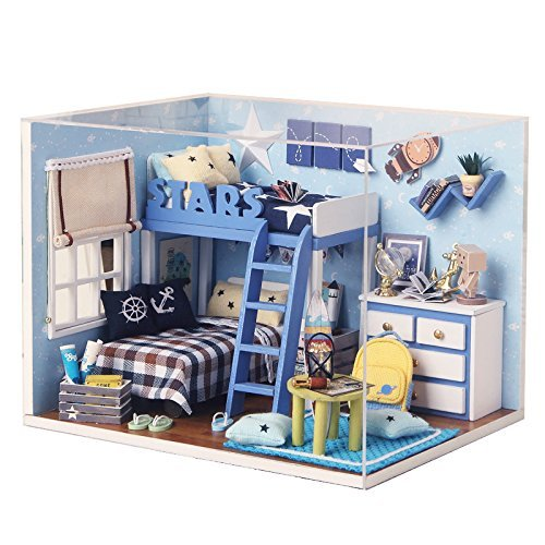 Rylai Wooden Handmade Dollhouse Miniature DIY Kit – Star Trek Series Miniature Scene Wooden Dollhouses  Furniture/Parts(1:32 Scale Dollhouse)