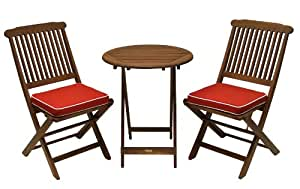 Outdoor Interiors Eucalyptus 3 Piece Round Bistro Outdoor Furniture Set Includes