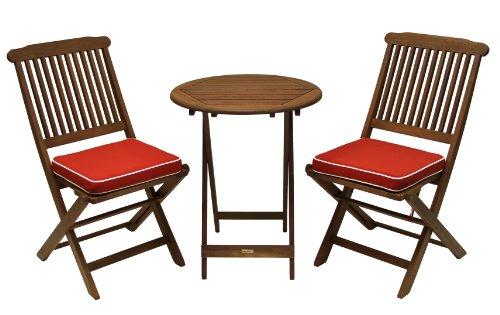 Outdoor Interiors Eucalyptus 3 Piece Round Bistro Outdoor Furniture Set Includes Cushions