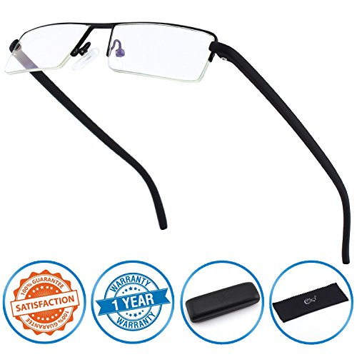 CGID Half Rim Anti-Blue light Readers , Computer Reading Glasses with TR90 Frame for Men and - Lens Glasses Reading Men Half