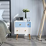 Lifewit Nightstand with 4 Fabric Drawers, Unique Modern Design Bedroom Side Table Bedside End Table, Easy to Assemble, Small and Cute, White, 18.9 x 11.8 x 21.7 in