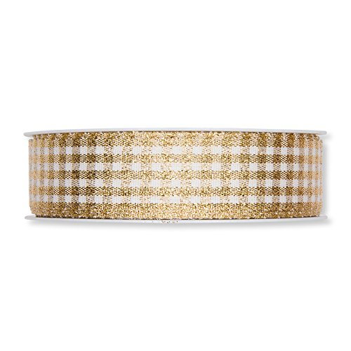 Lurex Check - FloristryWarehouse White with Gold Lurex Gingham Check Ribbon 1 Inch Wide x 27yd Roll