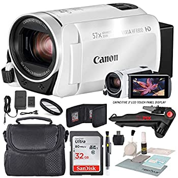 Image of Camcorder Bundles Canon Vixia HF R800 HD Camcorder (White) Bundle W/ 32GB SD Card, Camcorder Case, Cleaning Accessories and Fibertique Cleaning Cloth