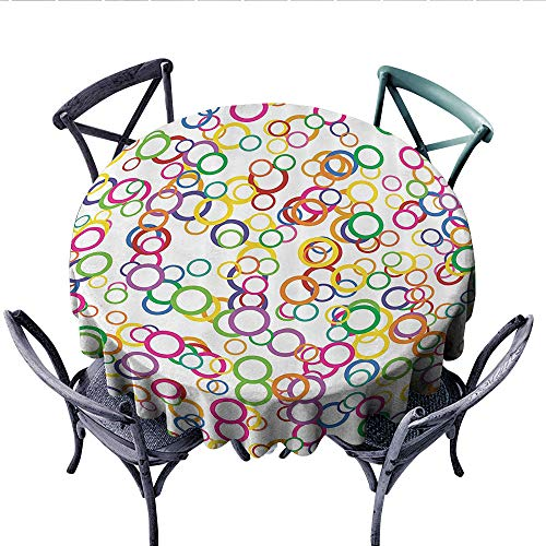 House Decor Patterned Tablecloth Circles Rainbow Party Gatherings Spectrum Round Summertime Joy Waterproof Table Cover for Kitchen (Round, 54 Inch,)