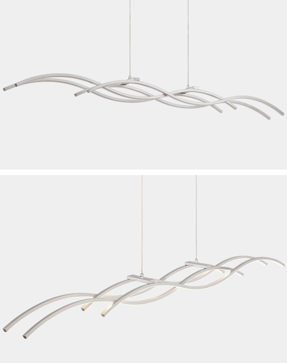 30W LED Modern Elegant Pendelleuchte Hängelampe Silber Kreativ Welle ...