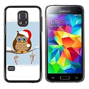 TopCaseStore / la caja del caucho duro de la cubierta de protección de la piel - Owl Winter Elf Hat Red White Drawing Art Candy - Samsung Galaxy S5 Mini, SM-G800, NOT S5 REGULAR!