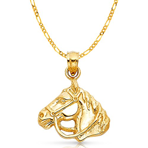 14K Yellow Gold Horse Charm Pendant with 2.3mm Figaro 3+1 Chain Necklace - 22