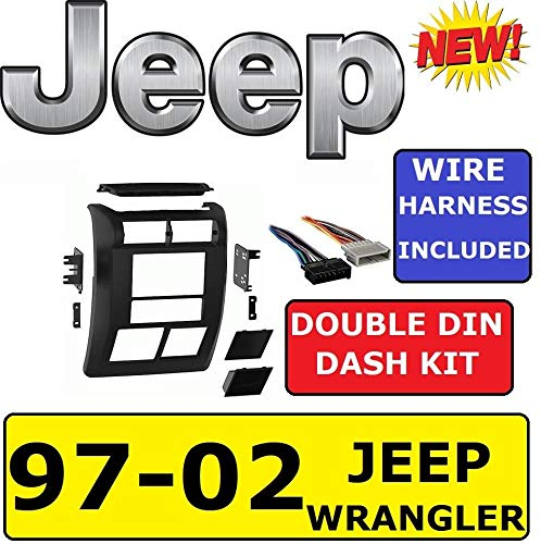 Metra 1997-2002 Jeep Wrangler Car Radio Stereo Installation Double Din 2Din Dash Kit/Panel/Facia for SE Sport Sahara TJ JK 1997 1998 1999 2000 2001 2002 97 98 99 00 01 02
