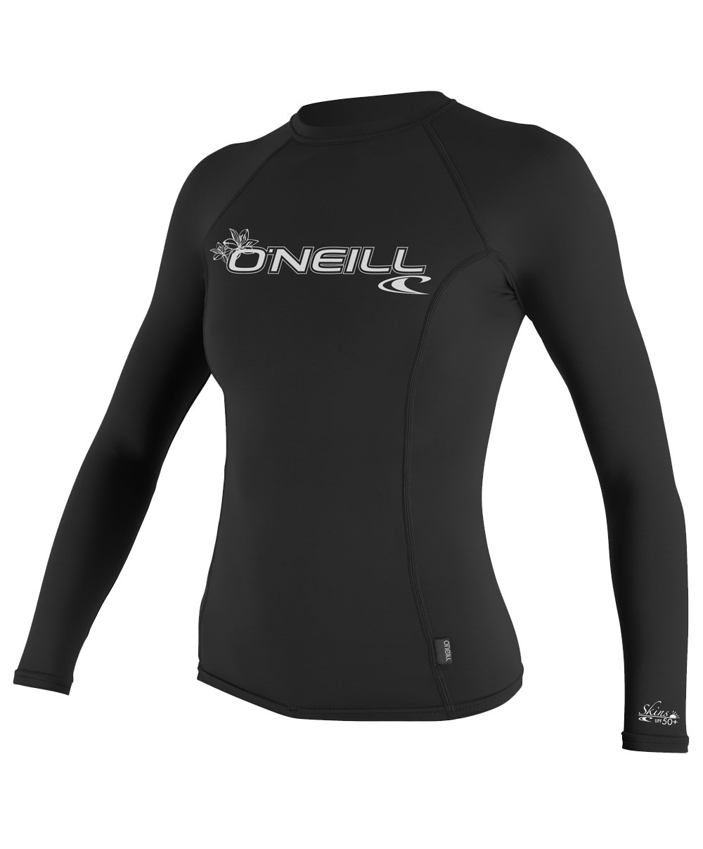 O'Neill UV Sun Protection Womens Basic Skins Long Sleeve Crew Sun Shirt Rash Guard, Black, Medium
