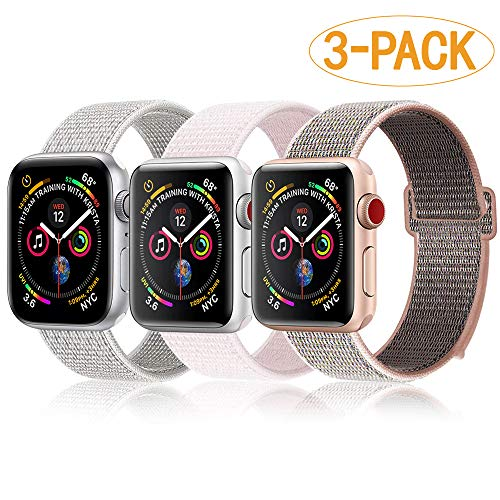 ACCASE Bands Compatible for Apple Watch Band 40mm 38mm, Soft Nylon Bands with Loop Fastener for iWatch Series 4/3/2/1, Pear Pink/Sand Pink/Summit White