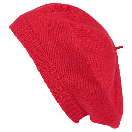 Pure Cashmere Beret - Made in Scotland (Red)