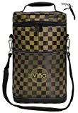 Vina Double Bottle Insulated Wine Cooler Bag, Beer Carrier Picnic Travel Tote, Champagne Padded Carrying Bags, Portable Thermal Cooling Shoulder Bag, Brown Grid +Free Corkscrew