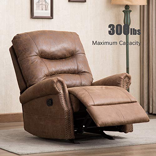 ANJ Rocker Recliner Chair with Breathable Bonded Leather, Classic and Retro Design 1 Seat Sofa Manual Recliner Chair with Overstuffed Arms and Back, Nut ()