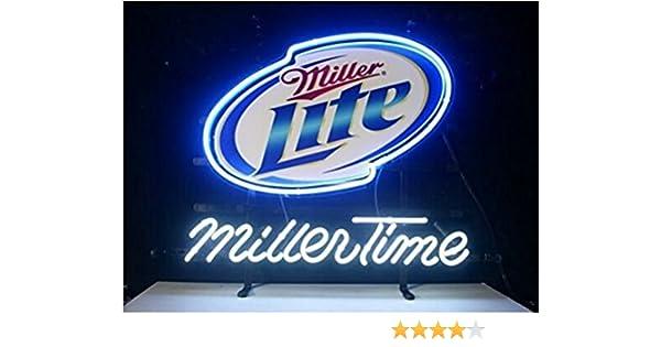 New Miller Time Miller Lite Neon Light Sign Display Beer Bar Pub Store Club Garrag Dealers Windows Garage Wall Sign 17w